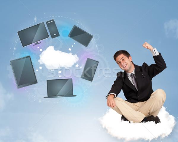 幸せ 小さな ビジネスマン 座って 雲 ストックフォト © ra2studio