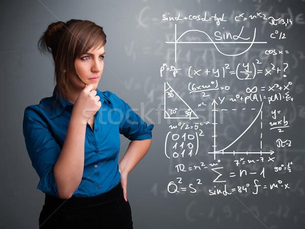 美しい 思考 複雑な 数学の 標識 ストックフォト © ra2studio