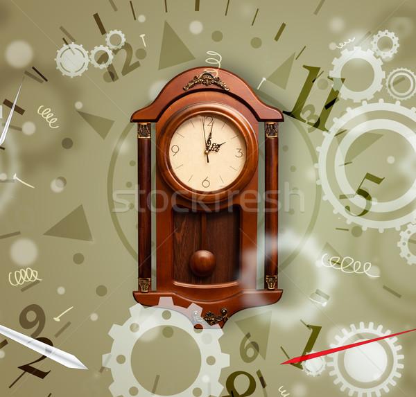 Vintage klok nummers kant uit gezicht Stockfoto © ra2studio