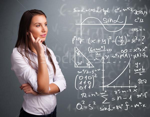 Güzel düşünme karmaşık matematiksel işaretleri Stok fotoğraf © ra2studio