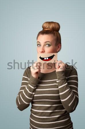 Feliz cute nina papel bigote Foto stock © ra2studio