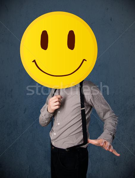 Empresário rosto sorridente emoticon amarelo cabeça Foto stock © ra2studio