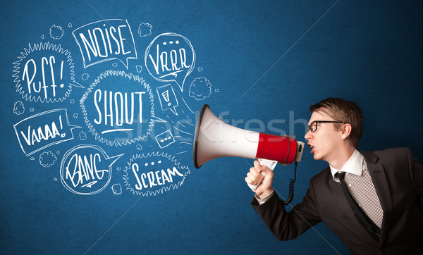 Guy in suit yelling into megaphone and hand drawn speech bubbles Stock photo © ra2studio