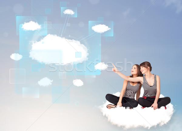 幸せ 女の子 見える 現代 クラウドネットワーク 小さな ストックフォト © ra2studio