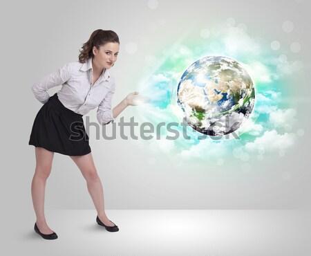 女性実業家 岩 山 世界中 立って エッジ ストックフォト © ra2studio