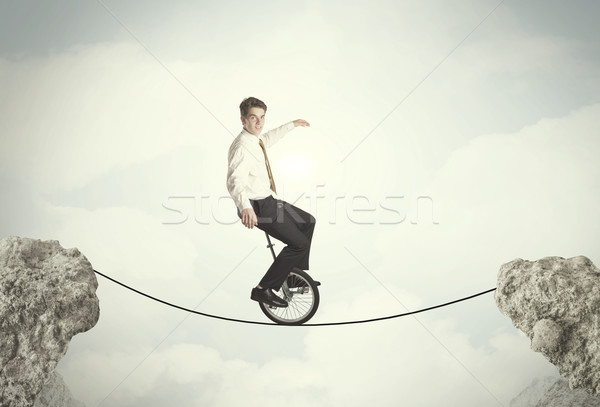 Dapper zakenman paardrijden cyclus business Stockfoto © ra2studio