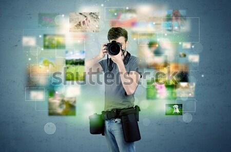 Fotoğrafçı resimleri geçmiş genç amatör profesyonel Stok fotoğraf © ra2studio