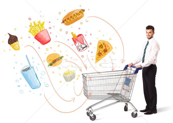Zdjęcia stock: Człowiek · koszyk · toksyczny · biznesmen · popychanie