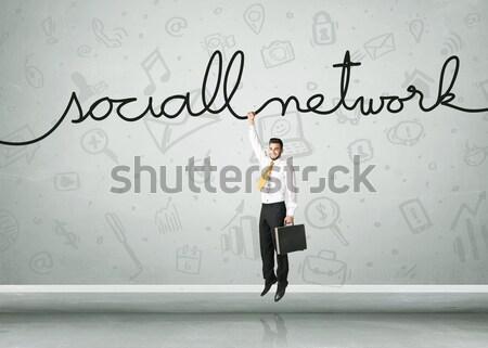 Opknoping zakenman touw business ruimte Stockfoto © ra2studio