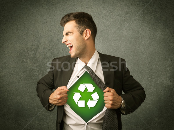 Stockfoto: Zakenman · af · shirt · recycleren · teken · borst