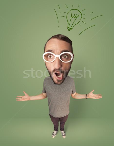 Big head person with idea bulb Stock photo © ra2studio