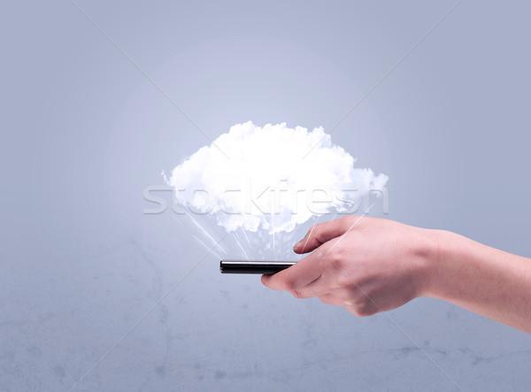 Mano telefono vuota nube maschio Foto d'archivio © ra2studio