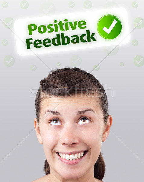 Genç kız bakıyor pozitif negatif işaretleri kafa Stok fotoğraf © ra2studio