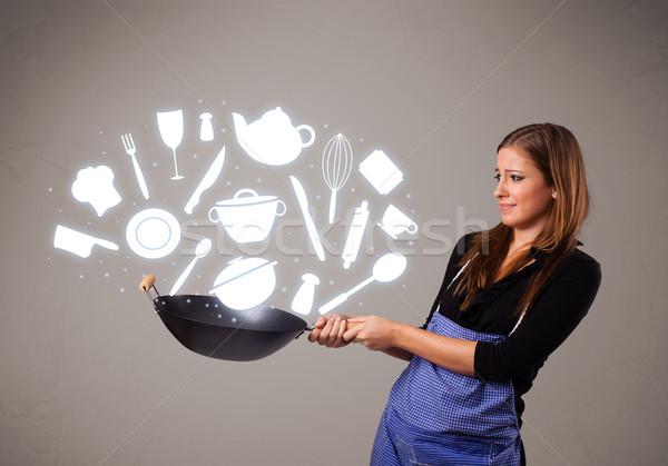 Foto stock: Cocina · iconos · bastante · jóvenes