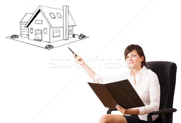 Foto stock: Jovem · mulher · de · negócios · casa · isolado