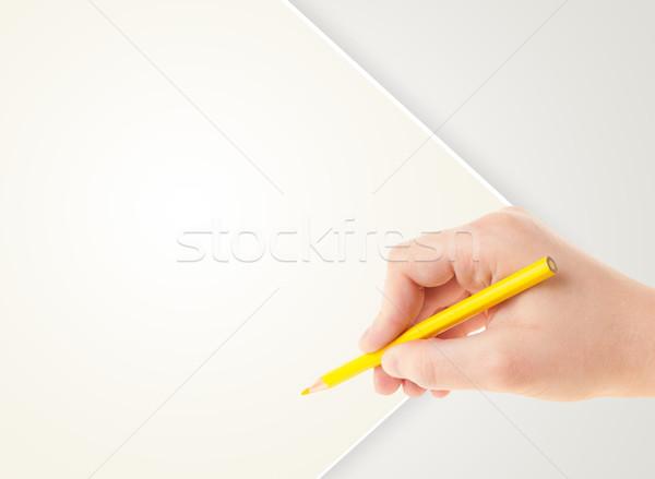 Zdjęcia stock: Ludzka · ręka · rysunek · farbują · pusty · papieru · szablon