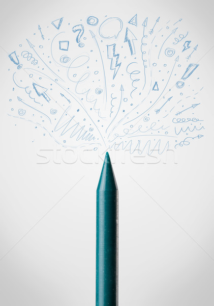 Crayon close-up with sketchy arrows Stock photo © ra2studio