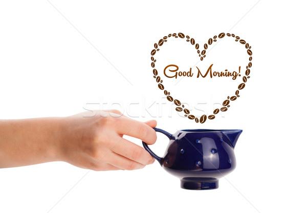 Foto stock: Café · pote · grãos · de · café · coração · bom · dia