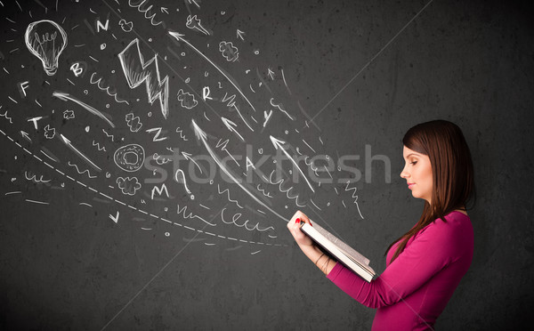 чтение книга рисованной из девушки Сток-фото © ra2studio