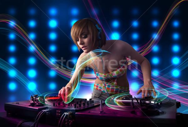 Młodych dziewczyna rekordy kolorowy światła piękna Zdjęcia stock © ra2studio