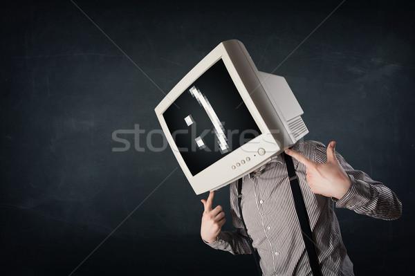 Vicces fiatal üzletember monitor fej emotikon Stock fotó © ra2studio