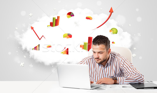 Handsome businessman with cloud in the background containing col Stock photo © ra2studio