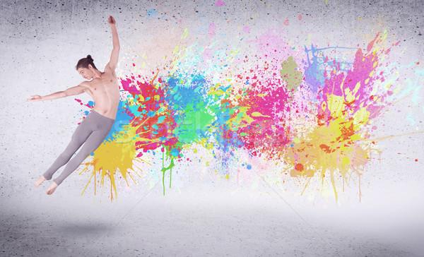 Stok fotoğraf: Modern · sokak · dansçı · atlama · renkli · boya