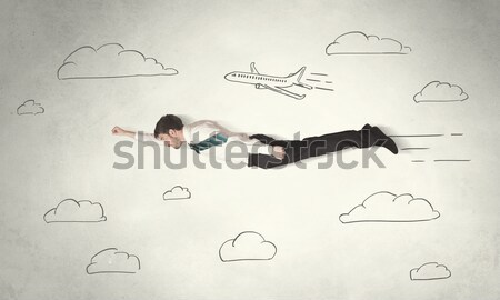 Cheerful business person flying between hand drawn sky clouds Stock photo © ra2studio