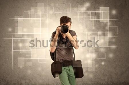 Stockfoto: Mannelijke · professionele · hobby · fotograaf · camera