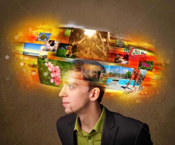 Férfi színes izzó fotó emlékek jóképű férfi Stock fotó © ra2studio