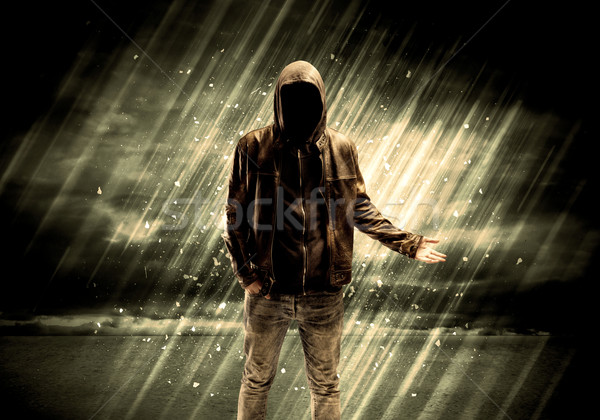 Veszélyes bűnöző áll cigaretta kapucnis eső Stock fotó © ra2studio