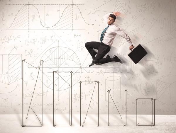 Gyors üzletember ugrik felfelé kézzel rajzolt táblázatok Stock fotó © ra2studio