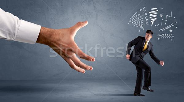 напряженный бизнесмен работает большой стороны человека Сток-фото © ra2studio
