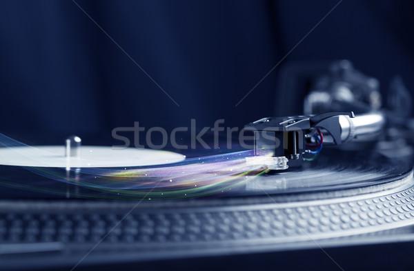 Muziekspeler spelen vinyl muziek kleurrijk abstract Stockfoto © ra2studio