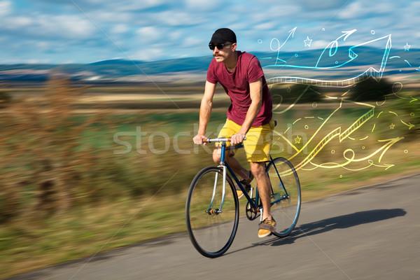 Jonge fietser weide fabelachtig natuur Stockfoto © ra2studio