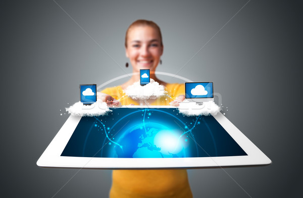 Stockfoto: Jonge · vrouw · tablet · moderne · abstract