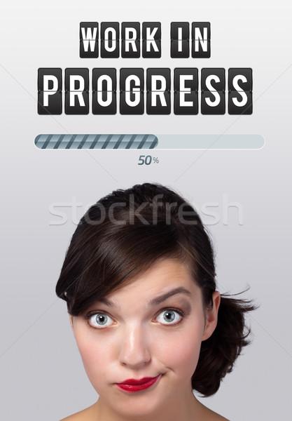 Jong meisje naar idee type teken hoofd Stockfoto © ra2studio