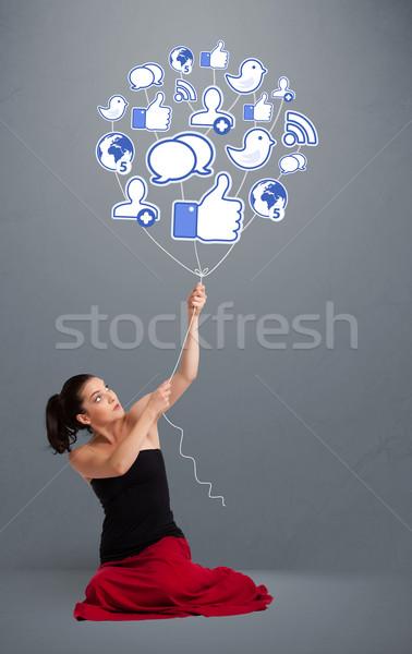 Stok fotoğraf: Güzel · kadın · sosyal · ikon · balon · genç