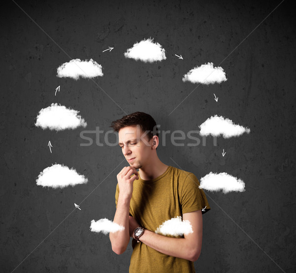 Young man thinking with cloud circulation around his head Stock photo © ra2studio