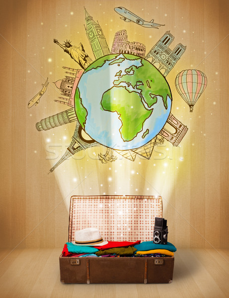Bagage reizen rond wereld illustratie Stockfoto © ra2studio