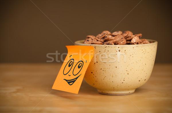ストックフォト: 注記 · 笑顔 · 穀物 · ボウル · 紙