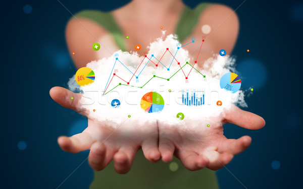 Young woman presenting cloud with charts and graph icons and sym Stock photo © ra2studio
