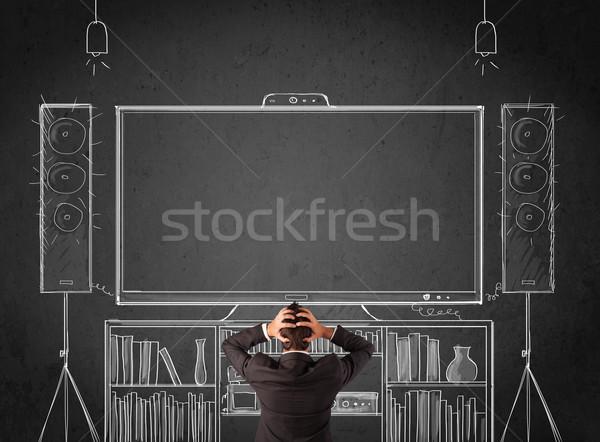 Işadamı ev sineması genç ayakta adam Stok fotoğraf © ra2studio