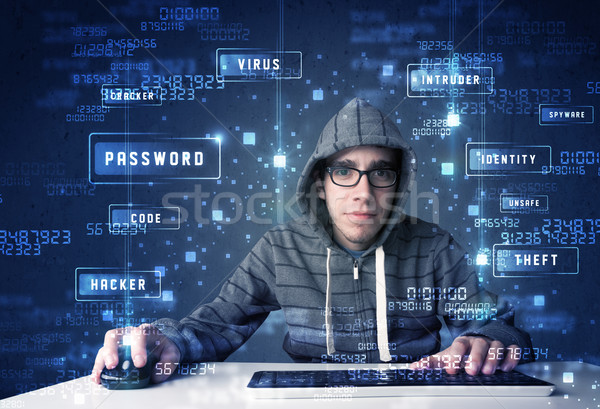 хакер технологий иконки компьютер деньги Сток-фото © ra2studio