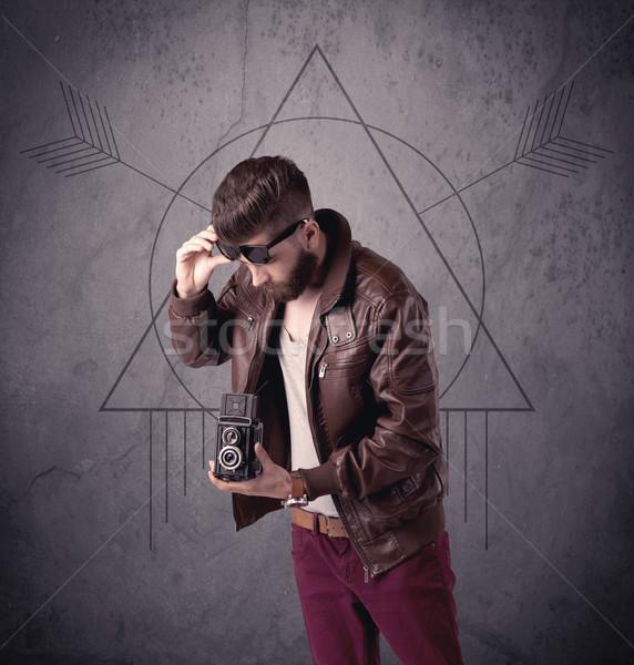 Foto stock: Casual · funny · masculina · teléfono · móvil · jóvenes