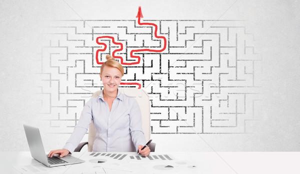 Stock fotó: üzletasszony · asztal · labirintus · nyíl · férfi · oktatás