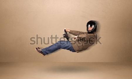 Mutlu komik adam sürücü uçan araba Stok fotoğraf © ra2studio