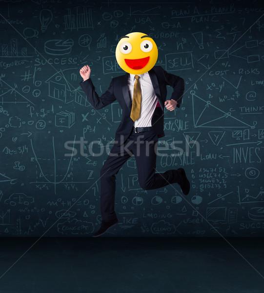 Empresário amarelo rosto sorridente engraçado negócio cara Foto stock © ra2studio