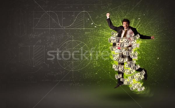 Derűs ugrik dollár bankjegyek körül üzlet Stock fotó © ra2studio