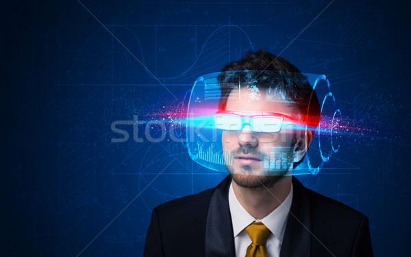 Stock photo: Man with future high tech smart glasses